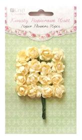 Kwiaty papierowe 2cm 16szt. róże LEMON CHIFFON