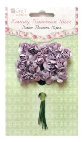 Kwiaty papierowe 2cm 16szt. róże MISTY HEATHER