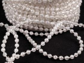 Koraliki plastikowe na sznurku O3mm białe przeźro