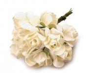 Kwiaty papierowe 2cm 12szt, róża- kremowa
