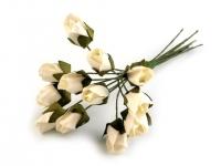 Kwiaty papierowe 1cm 12szt, róża- kremowy jasny