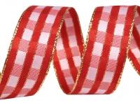 Wstążka kraciasta szer.26 mm z lureksem i drutem
