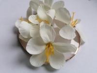 Kwiaty materiałowe 5cm 5szt. BIAŁE 6