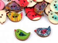 Guzik drewniany dekoracyjny ptaszek MIX