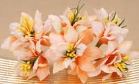 Kwiaty materiałowe 6szt. pomarańcz irys z narcyzem