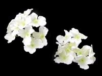 Kwiaty materiałowe hortensji białe 9szt.