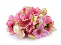 Kwiaty materiałowe hortensji róż 9szt.
