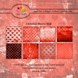 Papiery Dixi 15x15 cm Christmas Hearts/ Red