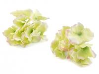 Kwiaty materiałowe hortensji żółto- zielony 9szt.